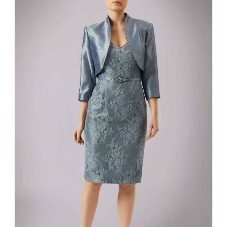 Mascara Steel Blue Lace Dress Satin Jacket Set