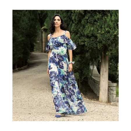 Michaela Louisa Blue Floral Chiffon Gown