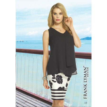 Frank Lyman Black Chiffon Draped Top