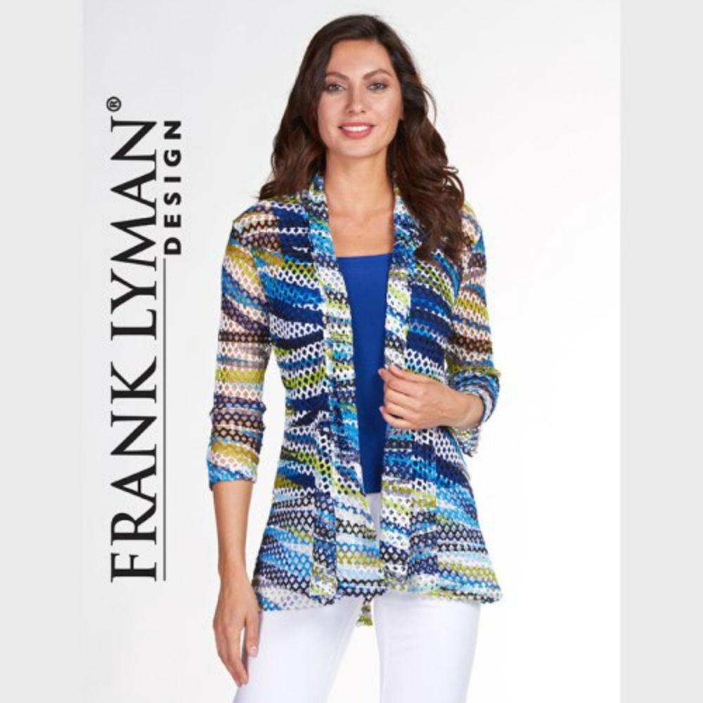 Frank Lyman Blue, Green & White Cardigan - Brooks Shops