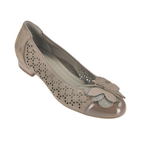 Ara Bari Grey Leather Suede Flat Shoes