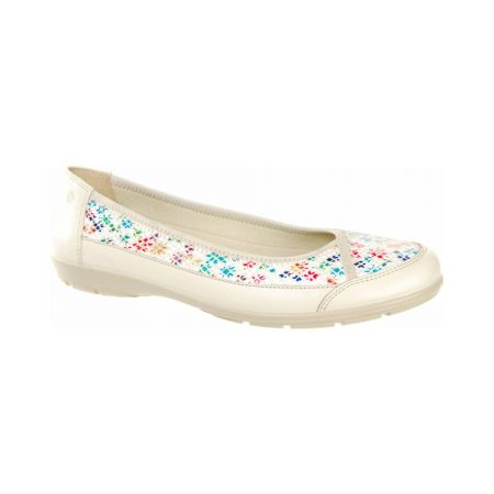 Alpina Dixie White Floral Print Flat Shoes