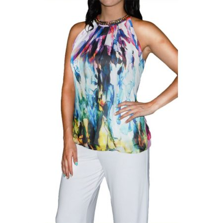 Frank Lyman Multi Coloured Chiffon Halter Neck Top