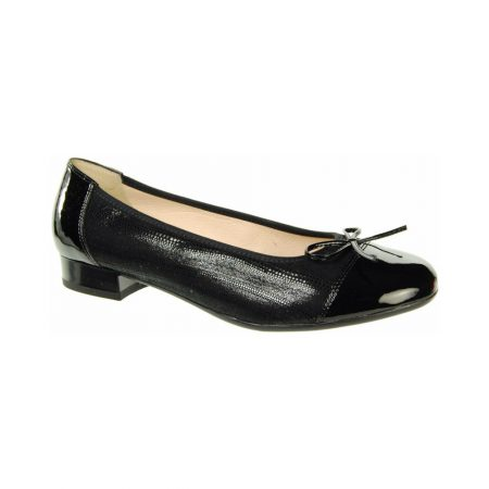 Alpina Ottawa Black Printed Leather Flat Shoes