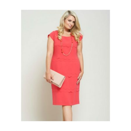 Personal Choice Coral Pink Scalloped Dress