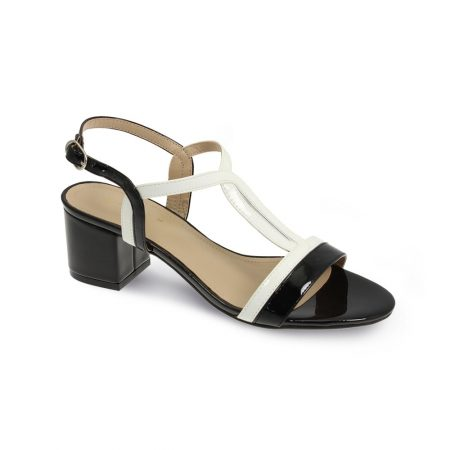 Lunar Clarke Black Patent Heeled Sandals