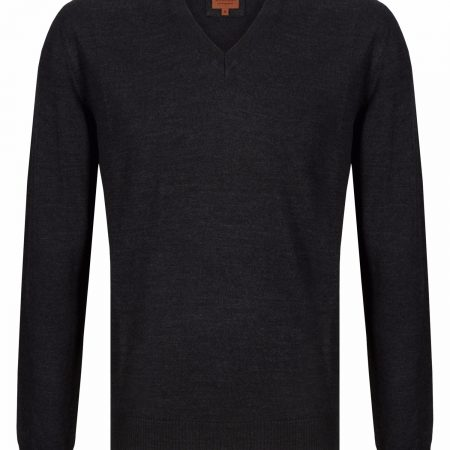 Douglas Charcoal V Neck Knit Sweater