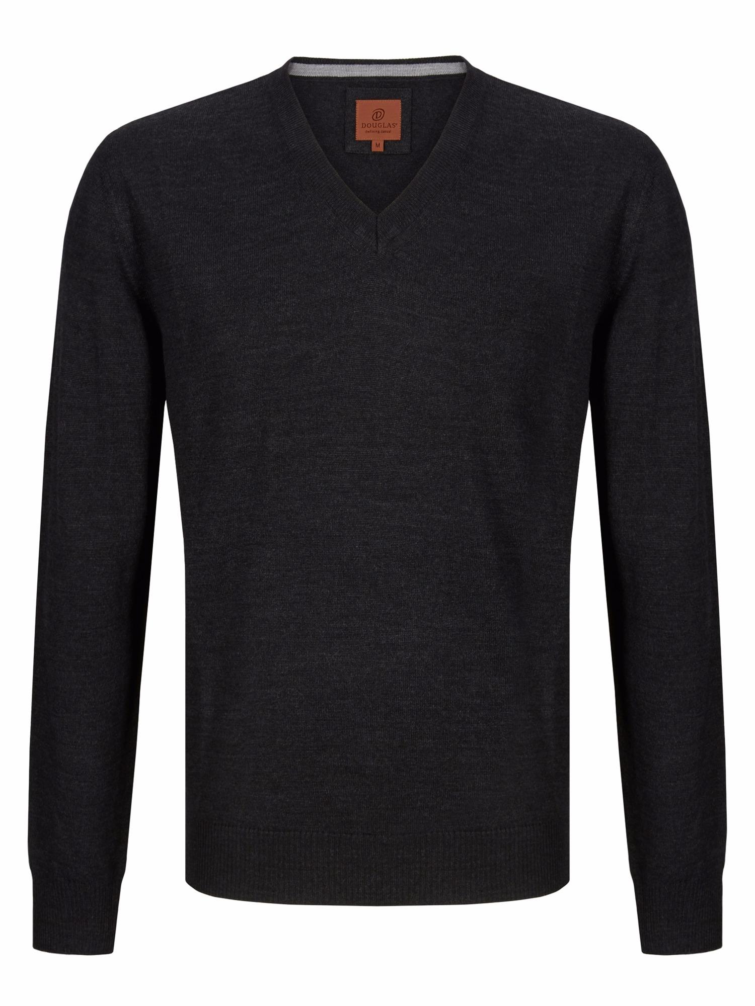 Douglas Charcoal V Neck Knit Sweater