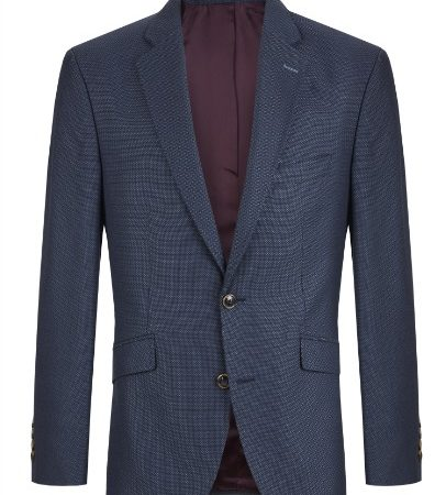Douglas Navy Print Wool Mix Dress Jacket