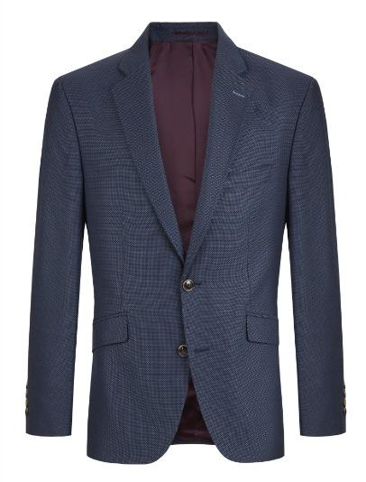 Douglas Navy Print Wool Mix Dress Jacket