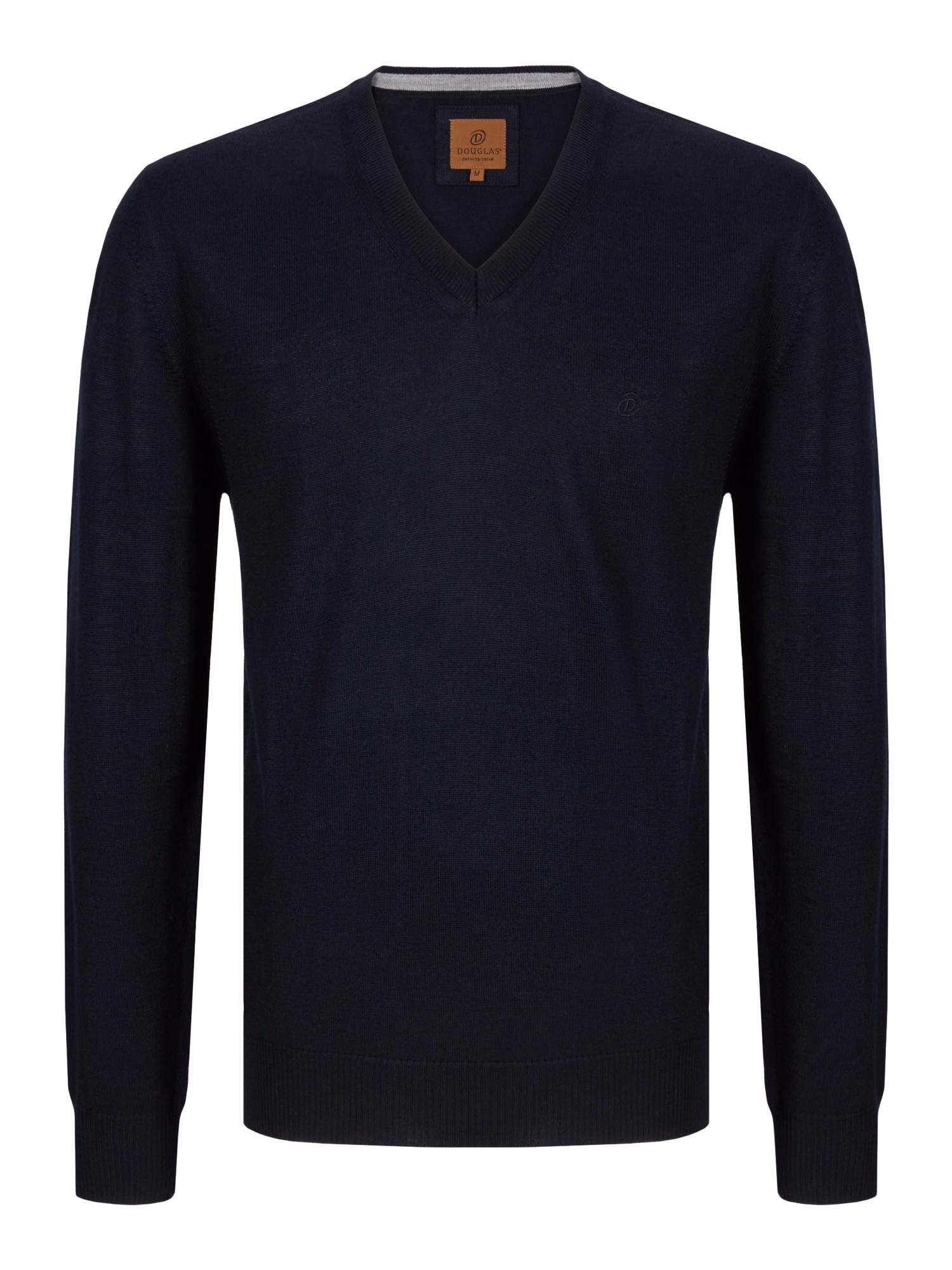 Douglas Navy V Neck Knit Sweater