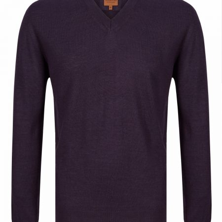 Douglas Purple V Neck Knit Sweater