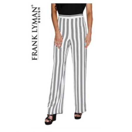 Frank Lyman White & Black Striped Wide Leg Trousers