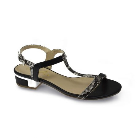 Lunar Garbo Black Snake Skin Sandals