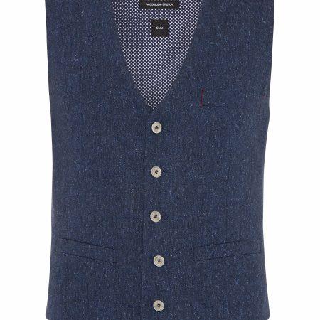 Remus Uomo slim fit Torino blue waistcoat-0