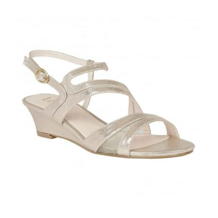 Lotus Desponia Light Gold Wedge Sandals