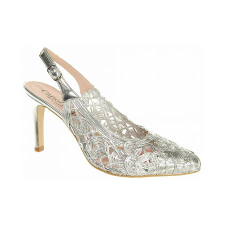 Capollini Isidora Silver Leather Dress Shoes