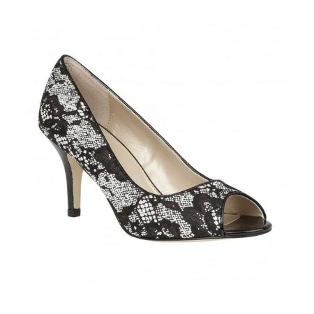 Lotus Kendell Black Lace Print Dress Shoes