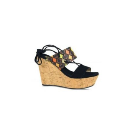 Lisa Kay Marcella Black High Wedge Sandals