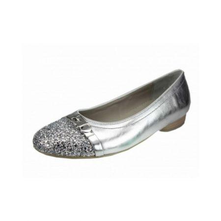 Jenny Ara Pisa Metallic Silver Glitter Flat Shoes
