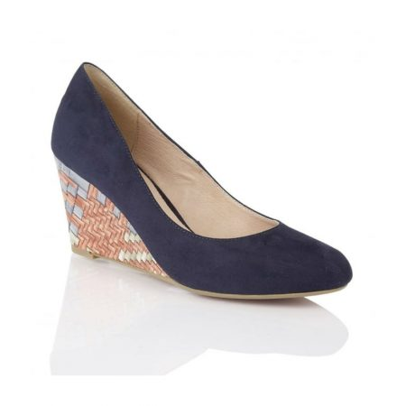 Lotus Trinity Navy Microfiber Wedge Shoes
