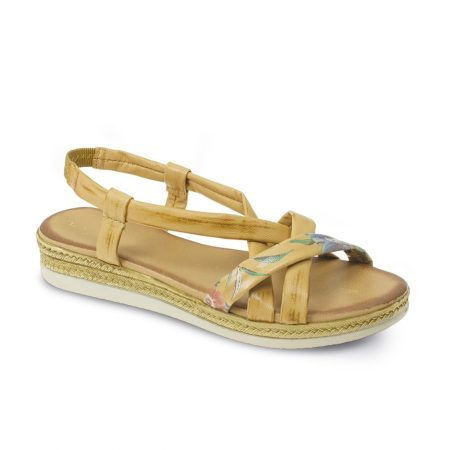 Lunar Amie Tan Leather Flat Sandals