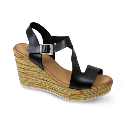 Lunar Aniston Black Leather Wedge Sandals