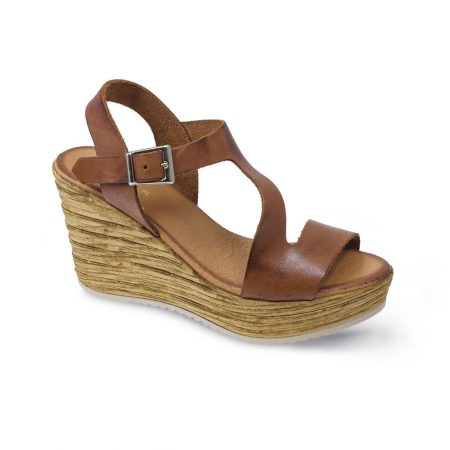 Lunar Aniston Brown Leather Wedge Sandals
