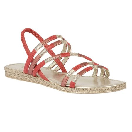 Lotus Bastia Coral Red Flat Sandals