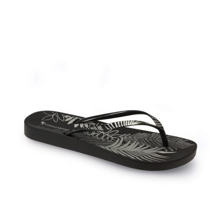 Lunar Foliage Black Flip Flop Sandals