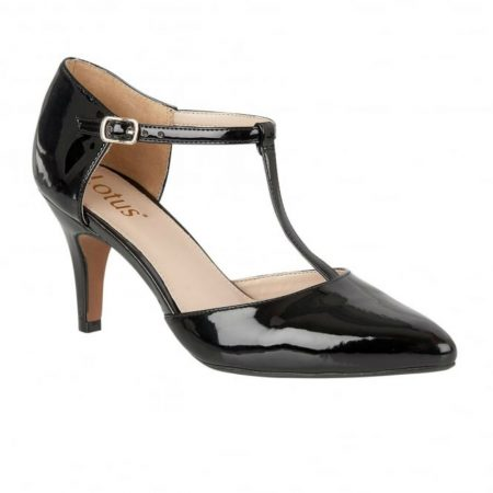 Lotus Camomile Black Patent Heeled Dress Shoes