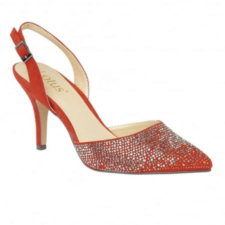 Lotus Spinley Orange Diamante Heeled Dress Shoes