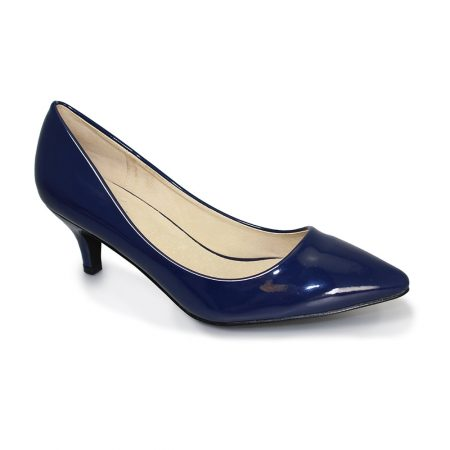 Lunar Celia Navy Patent Kitten Heel Dress Shoes