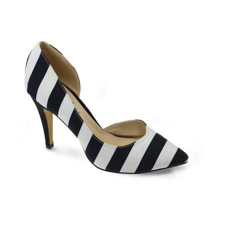 Lunar Coy Striped Stiletto High Heels
