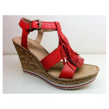 Aeros Me Bella Red Leather Wedge Sandals
