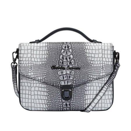 Claudia Canova Black Croc Print Handbag