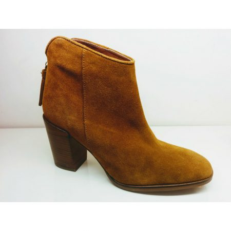 Lisa Kay Nevada Tan Leather Suede Heeled Ankle Boots
