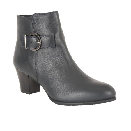 Lotus Genevieve Navy Leather Ankle Boots