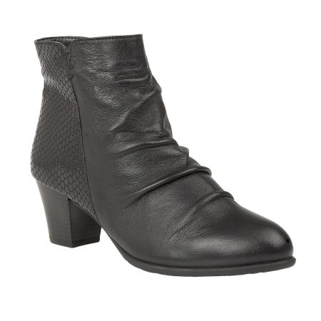 Lotus Punata Black Leather Ankle Boots