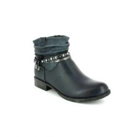 Hengst Deep Navy Flat Ankle Boots