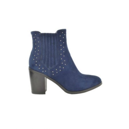 Fabs Navy High Heeled Ankle Boots