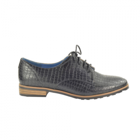 Fabs Black Croc Print Brogue Shoes