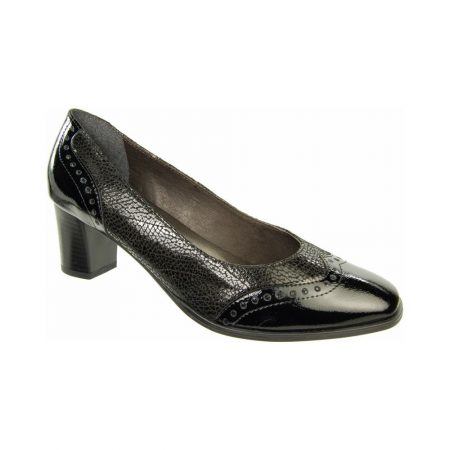 Alpina Pemba Black Leather Mid Heel Court Shoe