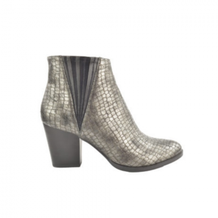Fabs Metallic Pewter Heeled Ankle Boots