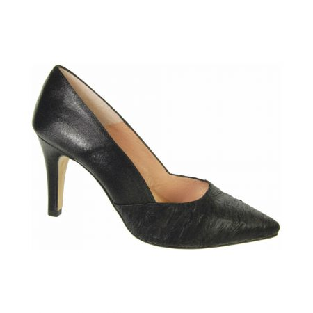Capollini Raine Black Satin High Heel Shoes