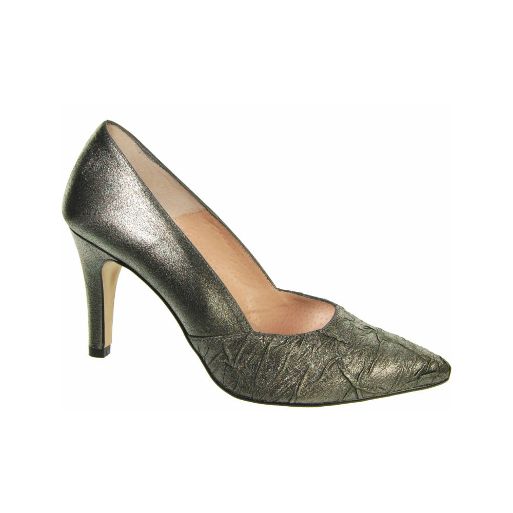 Capollini Raine Pewter Satin High Heel Shoes Brooks Shops
