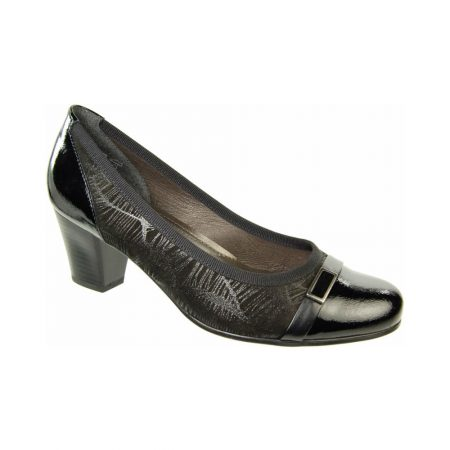 Alpina Sanford Black Leather Mid Heel Court Shoes