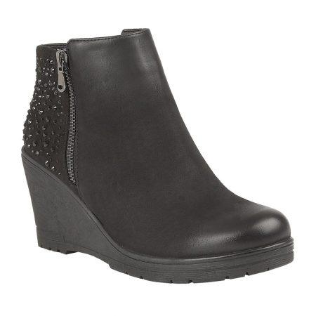 Lotus Brisa Black Wedge Heel Ankle Boots