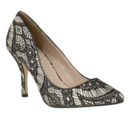 Lotus Heath Gold Glitter Black Lace Heels