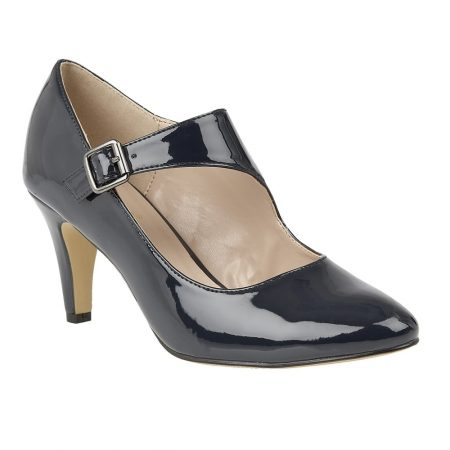 Lotus Laurana Navy Patent Heeled Shoes